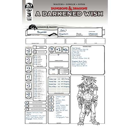 Dungeons & Dragons A Darkened Wish #3 Cover B Character Sheet