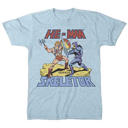 Masters Of The Universe He-Man Vs Skeletor Sky Blue T-Shirt